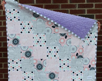 Pink / Grey / Purple / Blue Patchwork Baby Quilt / Love you to the moon and back