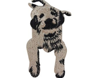 ID 2796 Puppy Laying Down Patch Dog Pet Animal Embroidered Iron On Applique