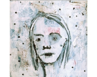 Original painting: Little Girl - Mixed Media Painting