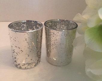 Mercury glass, 12 Wedding centerpiece  mercury glass candle holder, Wedding decorations, votive candle, wedding table decoration