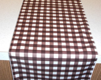 11 x 108 Inch Brown Gingham Table Runner