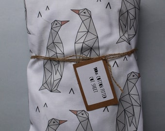 Fitted Cot Sheet / Fitted Crib Sheet - 100% Cotton in Geo Penguin print - READY TO SHIP by Little Dreamer