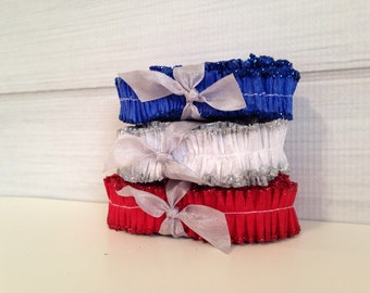 Red White Blue Glitter Ruffles Crepe Paper Memorial Day 4th of July Patriotic DIY Scrapbooking Vintage