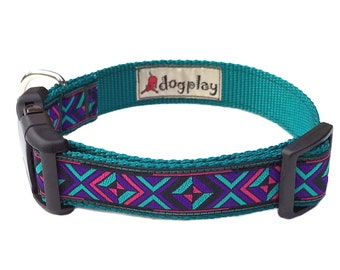 "1"" Wide Medium or Large Southwestern Print Dog Collar with Jacquard Ribbon on Teal Webbing"