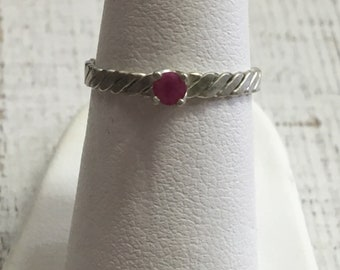 Ruby Argentium Sterling Silver Ring. Size 5