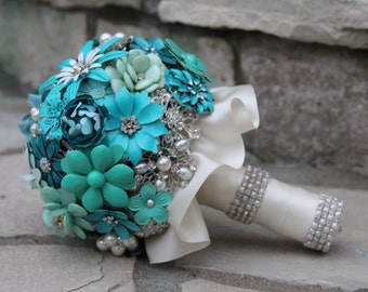 Brooch Bouquet/Ready to Ship Bouquet/Aqua Wedding Bouquet/Country Bridal Bouquet/Brooch Bridal Bouquet/Brooch Bouquet/Full Price Bouquet