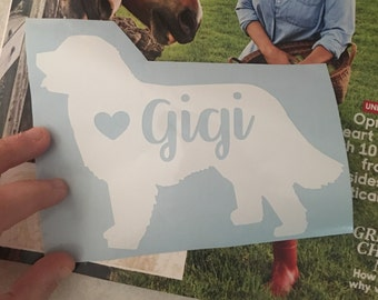 Personalized Newfoundland car window decal, dog name with heart decal, personalized dog decal, laptop sticker, pet lover decal, Newfie decal