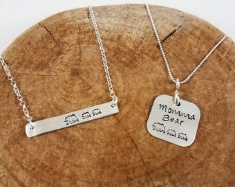 Mama Bear / Momma Bear Hand-Stamped Necklace - Sterling Silver