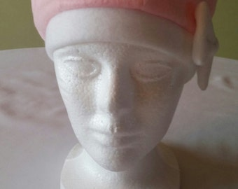 Womens Fleece baby pink hat with white bow