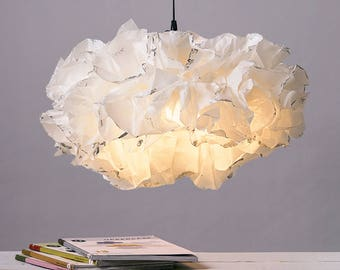 XL White Silver Pendant Lamp, White Light Fixture, Ceiling lighting, Living room Soft Warm light