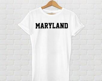 Maryland Varsity Style T-Shirt - White