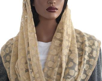 Kaatnu Veil™ Golden Metallic Lace Christian Scarf Catholic Veil Modest Headcovering Chapel Scarf Prayer Scarf Church Scarf Handmade