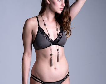 Bamboo/Cotton Bra with Adjustable Back Hook Closure - Gray with Black Lace - Made To Order Lingerie ' Bird of Paradise' Bra