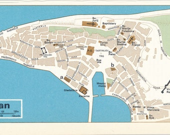 1969 Piran Slovenia Vintage Map