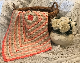 Peach Crochet Baby Blanket