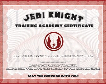 Wars certificate etsy instant dl jedi knight certificate star wars birthday party printable not personalized yadclub Gallery