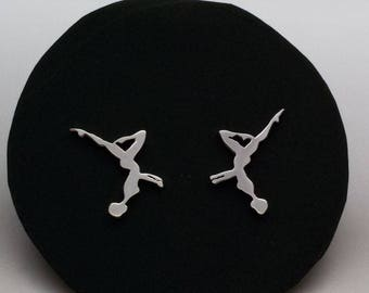 Swimming earrings, Synchronized swimming Silver earrings,gift for swimmers