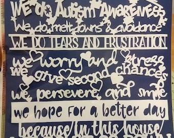 Autism, autism awareness papercut, decoration, decor, wall art, paper art, asd, home decor, autism spectrum disorder, aspergers