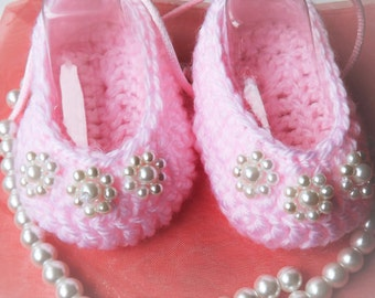 Ballerina Hand Made Baby Shoes with Beads and satin ribbon