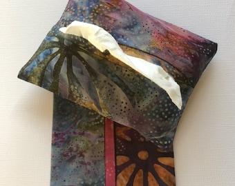 Fabric Purse Tissue Holders- Multi-color Batik Fabric- Pocket Tissue Holders- Tissue Case- Handmade Gift- Travel Tissue Holder