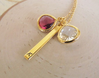 Gold Birthstone Jewlery, Birthstone Bar Necklace Personalized Gold Necklace, Family Birthstone Jewelry, Gift for Mom, 1-10 Kids Birthstones