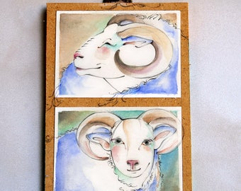 Two small ram original paintings mounted