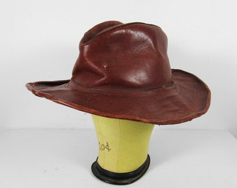 Vintage 70s Leather Hobo Hat Oxblood Weathered Bohemian Wide Brim