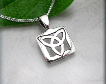 Small Trinity Knot Necklace, Celtic Triquetra, Irish Jewelry, Sterling Silver Pendant, Gift for Her