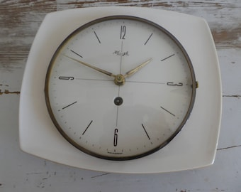 Wall Clock Kienzle ceramics watch great dial timeless Sixties mechanic wind up clock German made vintage