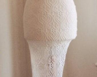 White lace Asymmetrical long skirt