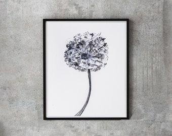 Dandelion print, black white art print, dandelion wall art, dandelion seeds, nursery art, wall decor, botanical wall art, bedroom art