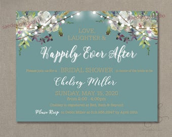 Affordable We do Eloped Reception Party Baby Shower Rustic Floral Wedding Bridal Shower Rehearsal Reception Party Invitation Cards Printable