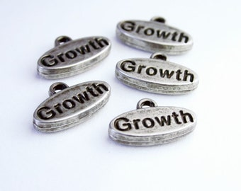 Word Charms - Metal Antique Silver Word Charms - Growth SUP007