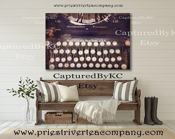Vintage Typewriter Wall Art Rustic Wall Art Wall Canvas Art Wall Art Print Canvas Art Canvas Decor Rustic Art