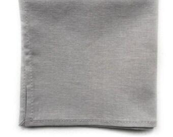 Gray Pocket Square, Handmade Pocket Square, Mens Pocket Square, Solid Color Linen Pocket Square