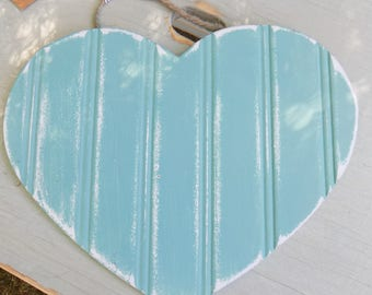 Chalk painted Turquoise wooden Heart