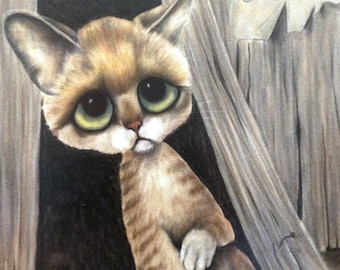 "1965 GIG Lithograph Print 9 1/2"" x 14"" Sad Orange Kitty Kitsch Home 60s Big Eyed Keane Style Wall Hanging Green eyes"