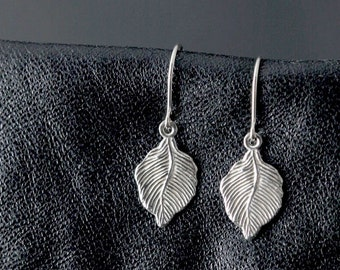 tiny sterling silver earrings, leaf earrings, dainty, delicate, small earrings, leaves, nature botanical light woodland