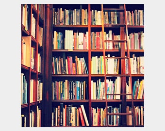 Library Ladder Photo, Bookshelves Photo, Gift for Bibliophile, Colorful Photograph, Dream Library, Book Lover Gift, Library Photograph