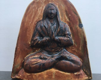 Buddha Relief Sculpture, May All Beings Be Happy, Ceramic Wall Art Yoga Figurine