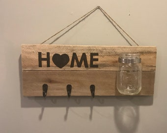 Home is Where the Heart is wall sign.  Home decor-wall hanging