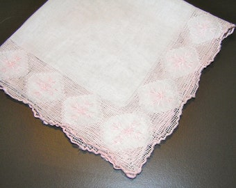Perfect for Weddings/Brides!  Delicate White Handkerchief with Stunning Light Pink Needlework Around Border