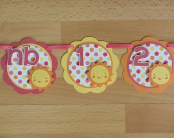Sunshine Sun 12 Month First Year Photo Banner Sign Birthday Party Sunny Yellow Pink Orange