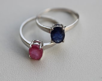 Ruby and Sapphire Oval Solitaires