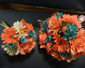 20 pc. Gerber Daisy Bridal Bouquet set. WEDDING FLOWERS, Corsages, Boutonnieres. Teal Turquoise White Coral Rose Ranunculus Gerbera Daisy