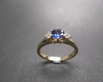 Blue Sapphire and Diamond Ring, Three Stone Diamond Ring, Three Stone Engagement Ring, Three Stone Diamond Ring, Blue Sapphire Ring, Wedding