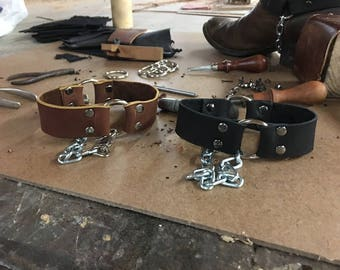 Boot straps, Leather mud chains,  black brown leather for boots