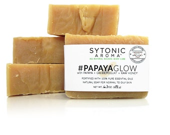 Papaya Glow Soap - Papaya + Greek Yogurt + Raw Honey (6.5 to 6.9 oz.) - All Natural, Handmade, Essential Oil, Cold Process Soap