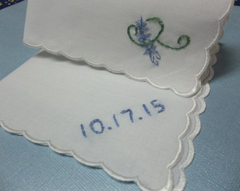 Bridesmaid wedding handkerchief, hand embroidered, dated , scalloped hanky, wedding colors welcome, something blue, bridal gift