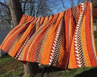 Set of 2 wide tiki mod barkcloth curtains orange red white black graphic stripe fabric pinch pleated